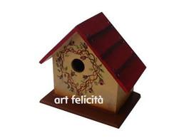 Casinha de passarinho telhado vermelho
