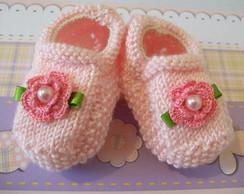 Sapatilhas Meninas com flor de croch�