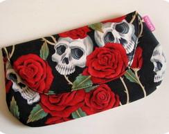 Carteira de m�o Skull & Roses
