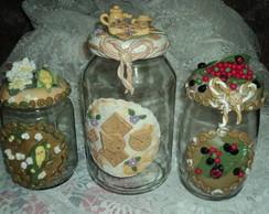 Potes para pipoca, para biscoito e caf�