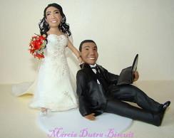 Topo de bolo casal de noivinhos