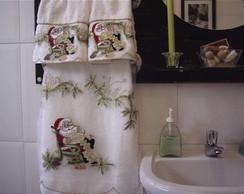 papai noel no lavabo bordado a m�quina