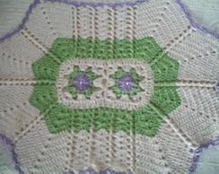 Tapete 4 Pontas verde/lil�s
