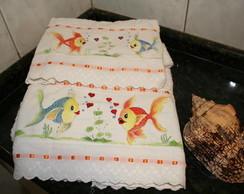 Jogo de toalha pintado a m�o
