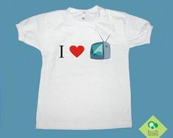 "T-Shirt Beb� e Infantil ""EU AMO TV"""