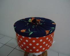 Caixa redonda com tecido