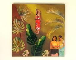 Tela Folhagens com figuras de Gauguin I