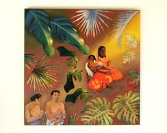 Tela Folhagens com figuras de Gauguin II