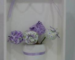 quadro com tulipas de tecidos