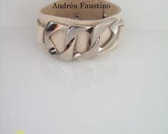 pulseira de couro  prata 021