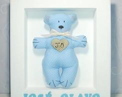Porta Maternidade - Urso Azul com Bege -