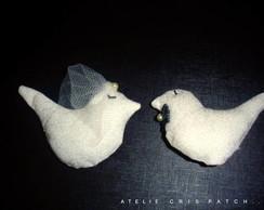 Casal Noivos Passarinho de tecido