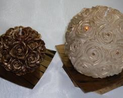 Duo de velas bola flor com strass