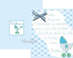 Convite Ch� de Beb� Carrinho Azul
