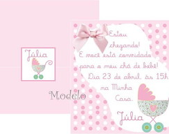 Convite Ch� de beb� Carrinho Rosa