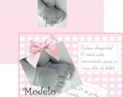 Convite Ch� de Beb� P�s Rosa