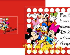 Convite Turma do Mickey vermelho