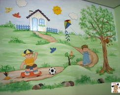 Painel de parede meninos brincando
