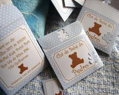 Convite ch� de beb� bolinhas urso