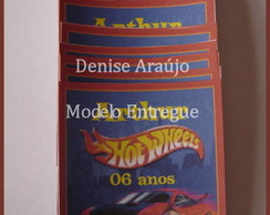 Tag Hot Wheels - Etiqueta Adesiva