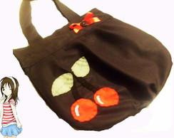 bolsa preta com cereja