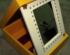 0062 Caixa Maquiagem amarelo com espelho