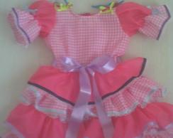 vestido caipira rosa
