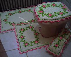jogo de banheiro  de croch� em barbante