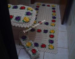 jogo banheiro de croch� com flores