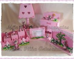 Kit Beb�  Ursinhas Marrom e Rosa- 5 Pe�a
