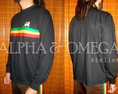 Camiseta Reggae Roots PRETA (mg. longa)