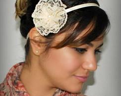 Headband VINTAGE nude c/ flor renda