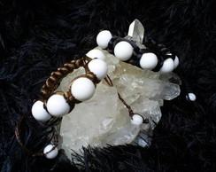 Pulseira Shambala com Agatas Brancas