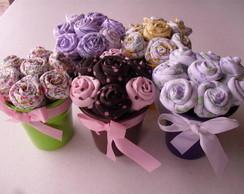 Vasinhos de flor de tecido