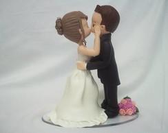Topo de bolo fofinhos se beijando