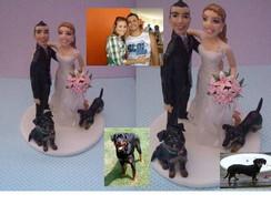 topo de bolo noivinhos com cachorros