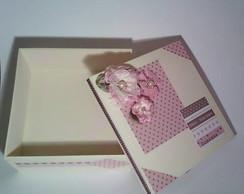 Caixa Flores Rosa e Marrom
