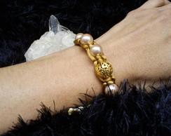 Pulseira Shambala com folheados em ouro