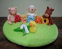 Topo de bolo fazendinha do Pedro