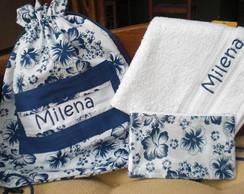 Mochila, Toalha e N�cessaire Floral Azul
