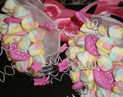 Buqu� de marshmallows rosa antigo