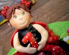 Topo de bolo menina joaninha