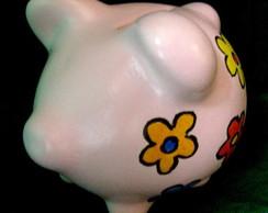 Cofrinho Porquinho florido