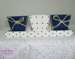 Conjunto 3 cachep�s azul e branco