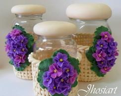 Conjunto de potes com violetas - vendido