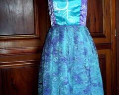 Vestido de Cetim e Renda Pintado � M�o