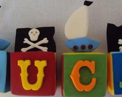 Topo de bolo: Cubos - Piratas !!!!