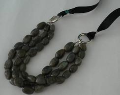 Maxi colar pedras cinzas 2817
