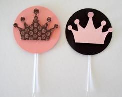 Tag coroa rosa e marrom