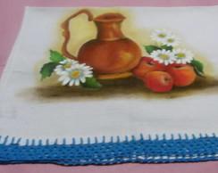 Jarro com frutas e flores,pano de prato